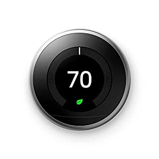Google T3007ES Nest Learning Thermostat 3rd Generation, Stainless Steel, Works with Amazon Alexa, 1