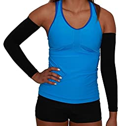 Compression Arm Sleeves - Golf Sun UV Protection - Cycling Arm Warmer - Baseball Sleeve - Basketball Shooter Arm Sleeve - Reduce Elbow Pain and Prevent Arm Fatigue (S/M, Black)