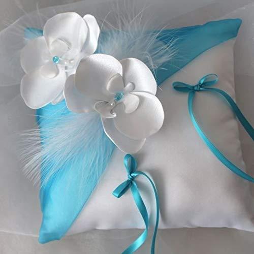 Coussin dalliancesOrchid/ée blanc ou ivoire et turquoise