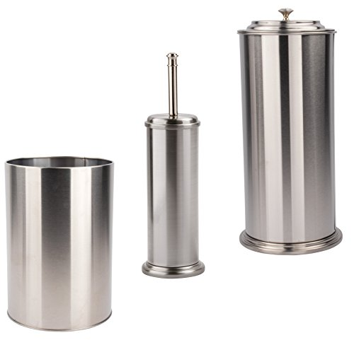 3 Piece Bathroom Accessory Set by LDR | Complete Set Includes Wastebasket, Freestanding Extra Toilet Paper Holder and Toilet Brush with Canister, Classy Design, Brushed Nickel Finish (Large Brushed Nickel Finish)
