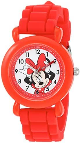 Disney Girl's 'Minnie Mouse' Quartz Plastic and Silicone Casual Watch, Color:Red (Model: WDS000138)