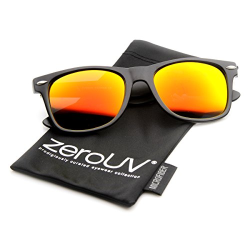 zeroUV 8025 Retro Matte Black Horned Rim Flash Colored Lens Sunglasses, Black Fire, - Coloured Sunglasses Lense