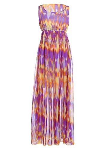 Anna-Kaci Women's Stretch Waist Psychedelic Print (Psychedelic Maxi Dress)