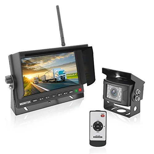 Pyle PLCMTR78WIR 2.4Ghz Vehicle Camera & Video Monitor System with Wireless Transmission, Waterproof Rated Cam, Night Vision, 7'' Display (for Bus, Truck, Trailer, Van)