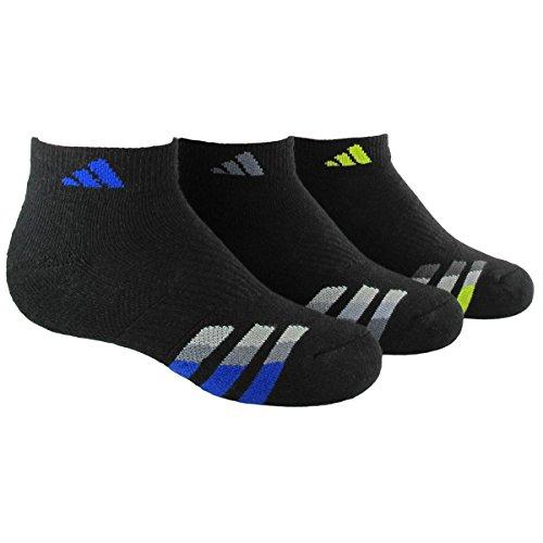 adidas Boys Cushion Low Cut Socks (Pack of 3), Black/Bold Blue - Light Onix - Semi Solar Yellow, Large