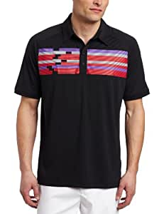 adidas Golf Men's Climacool Chest Block Print Polo Shirt, Black/Ruby, Small
