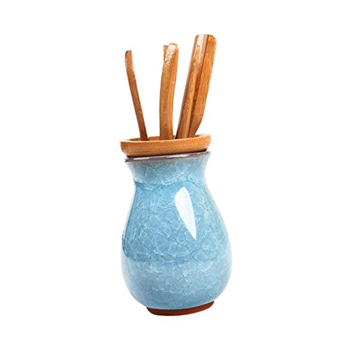 Baoblaze Porcelain Bamboo Tea Utensils, Chinese Gongfu Tea CeremonyTool, Cha Dao Tools Set - Lake Blue by Baoblaze