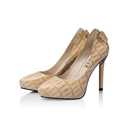 3cm Platform Abricot 10 Pompes à Simples Wysm Pointues Talons Chaussures Femmes Bow 6xq0wX