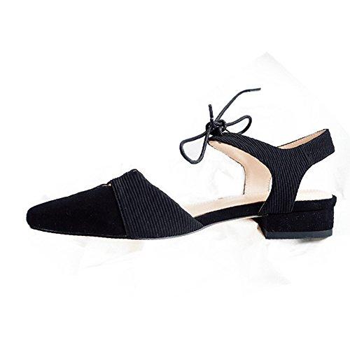 QIDI-sandalias Caucho No Temporada De Verano Mujer Fondo Plano Tie De Tacón Bajo Zapatos Individuales (Color : Marrón, Tamaño : EU39/UK6) Negro