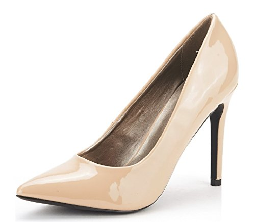 DREAM PAIRS CHRISTIAN Women's Classic Fashion Pointed Toe High Heel Dress Pumps New Nude-Patent Size 7