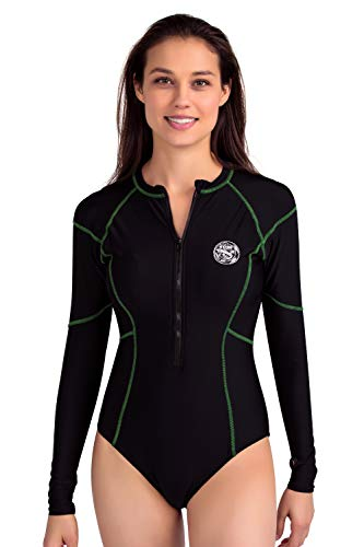 AXESEA Womens Long Sleeve Rash Guard UV UPF 50+ Sun Protection Printed Zipper Surfing One Piece Swimsuit Bathing Suit (16, Line Green)