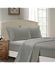 1000TC Ultra Soft Sheet Set (Flat Sheet & Fitted Sheet & 2 Pillowcases) (Queen Size Bed, Grey)