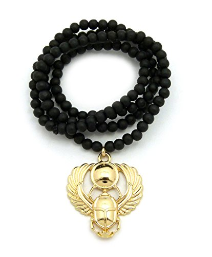 """Egyptian Amulet Scarab Pendant 6mm 30"""" Wooden Necklace in Gold Black Tone (6mm 30"""" Black Wooden)"""