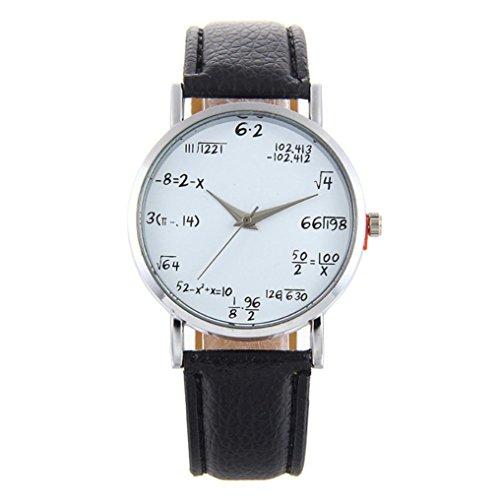 Women's Watch,Balakie Watch Fashion Mathematical Formula Printed Leather Band Analog Quartz Wrist Watch (Black, alloy)
