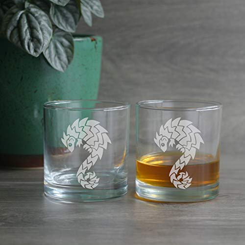 PANGOLIN Lowball Glasses set of 2 - Dishwasher-safe etched whiskey glass