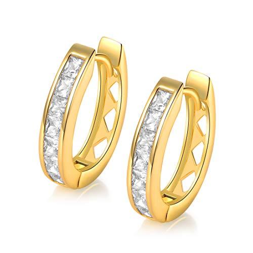 GEMSME 18k Yellow Gold Plated Cubic Zirconia Created Hoop Earrings for Women