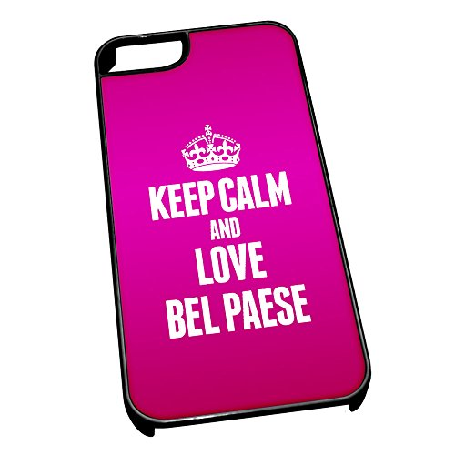 Nero cover per iPhone 5/5S 0816 Pink Keep Calm and Love bel paese