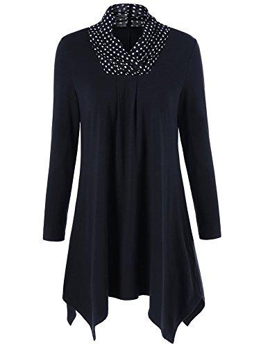 ZESICA Women's Cowl Neck Long Sleeve Asymmetrical Hem Loose Fit Casual Tunic Top