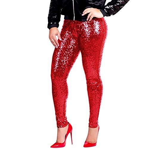 PASATO Women Shiny Metallic Plus Size Sequin Slim High Waist Vintage Leggings Pants Ladies Sexy Clubwear Trousers(Red,XXXL=US:XXL)]()