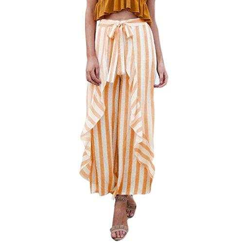 - Tootu Women Stripe Ruffle Bottom Sash High Waist Wide Leg Pants Beach Trousers (S, Orange)