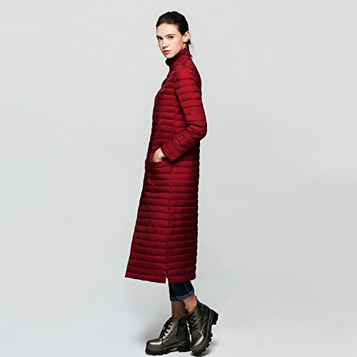 Coat Button Wine Solid Sleeve Down Red Long Pocket Jacket Thicken DYF S Color Collar gYFxq
