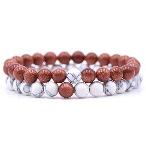 tthappy76 2Pcs/Set Couples Distance Bracelet Classic Natural Stone 18 Styles Beaded Bracelets for Men Women Best Friend,6