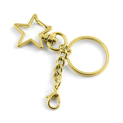 JCBIZ 10pcs Gold Star Design Spring Snap Keychain Clip Metal DIY Key Chains Accessories Creative Pentagram Hanging Buckle Key Ring with Lobster Clasp