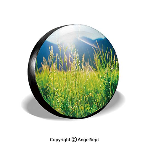 Spare Tire Cover,Pastoral Field Alpine Meadow Mountain Valley Fresh Summer Rural Landscape,Lime Green Light Blue,for Jeep Trailer RV SUV Truck Camper Travel Trailer Accessories,15 - Canvas Meadow 2