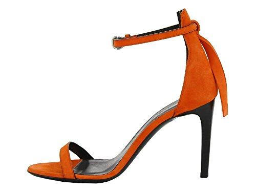 Alexander McQueen sandalias de tacón alto en gamuza coral - Número de modelo: 405785 R2311 6524 Coral