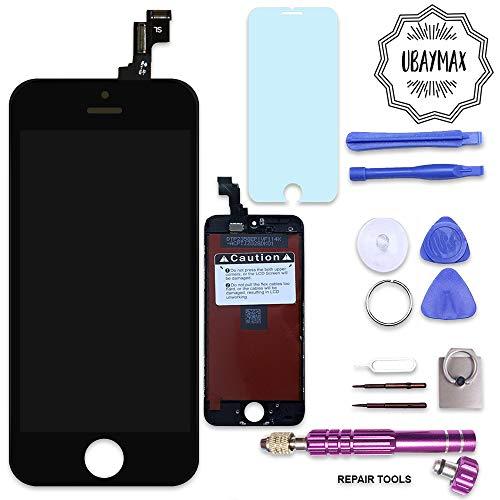UBaymax Kompatibel iPhone 5s Bildschirm Schwarz LCD Display Touchscreen Kompatibel iPhone 5s Ersatz Bildschirm Front Komplettes Glas kompatibel iPhone 5s