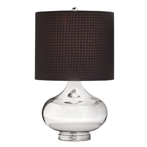 Kichler 70829 Obsidian 1-Light Table Lamp with Textured Black Fabric Shade, Mercury Glass Finish (Kichler Glass Floor Lamp)