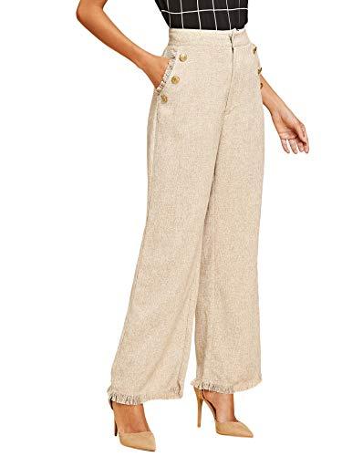 (Milumia Women Buttoned Detail Wide Waist Frayed Trim Palazzo Tweed Pants Beige)