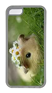 iPhone 5C Case, Customized Protective Soft TPU Clear Case for iphone 5C - Hamster Flowers Cover