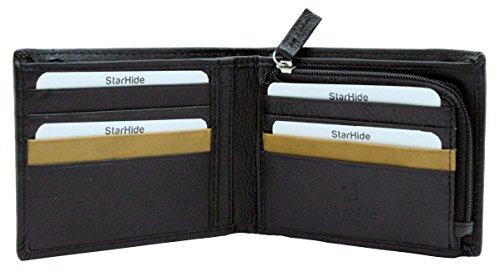 Zipped Coin Pocket (STARHIDE Men's Wallets RFID Blocking High Quality Soft Real Leather Wallet With A Secure Zipped Coin Pocket Purse Boxed - 110 (Black))
