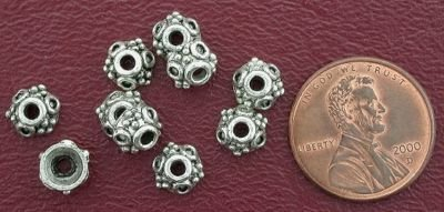 10 7mm ORNATE CAP BALI PEWTER BEADS