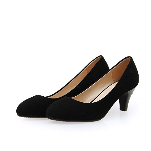 nbsp;Tacón AllhqFashion de nbsp;de Cuero Redonda Medio Puntera Pieldeoveja Tacón Zapatos on Mujer Negro Slip Vaca 7qf7BwnrH