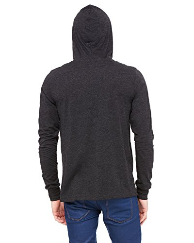 (Bella Canvas Retail Fit V-Neck Jersey Hoodie_Charcoal-Black Triblend_X-Large)