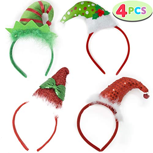 Pack of 4 Christmas Headbands with 4 3D Hat Designs for Christmas and Holiday Parties (ONE SIZE FIT ALL) -