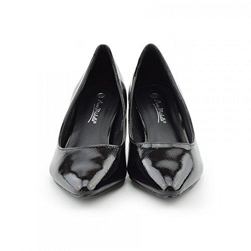 tacco scarpe Punta Kick Gattino Donna Tallone Footwear Brevetto Scarpe Tacco Donna Vernice Basso Nera 88UnfTqv