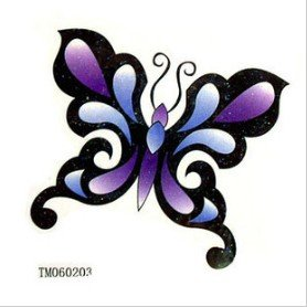 Amazoncom Blue Purple Butterfly Tattoo Stickers Temporary Tattoos
