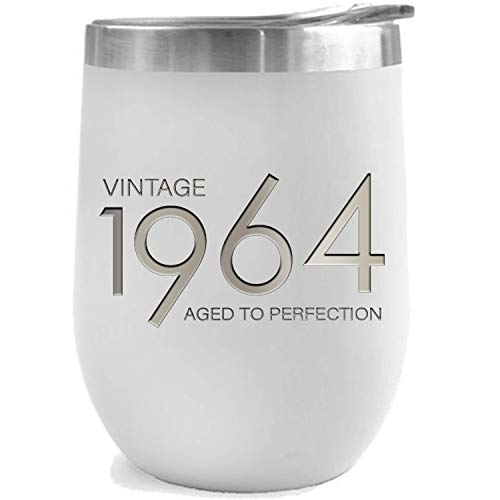1964 55th Birthday Gifts for Women and Men White 12 oz Insulated Stainless Steel Tumbler | 55 Year Old Presents | Mom Dad Wife Husband Present | Party Decorations Supplies Anniversary Tumblers Gift th ()
