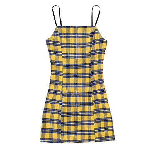 Euone Dress Clearance, Woman Retro Dress Backless Plaid Spaghetti-Strap Sleeveless Sundress Playful Bodycon Mini Sexy Dresses