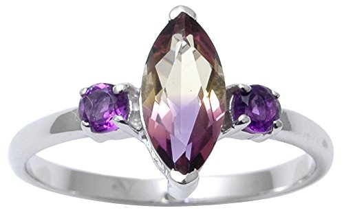 Banithani 925 Sterling Silver Indian Fashion Ametrine and Amethyst Stone Ring Women Jewelry