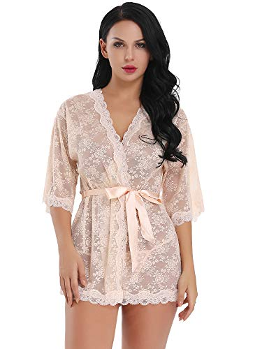 Lingerie Shower Pink (Womens Sexy Lace Kimono Robe Lingerie Set Mesh Babydoll Sheer Nightgown (Light Pink, Small))