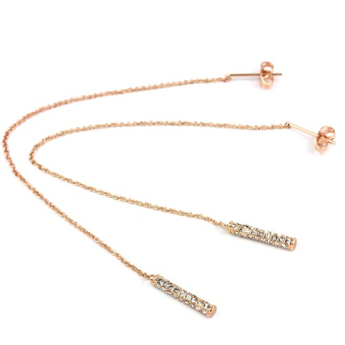 (FC JORY Rose Gold Plated Crystal Thread Threader Stick Bar Drop Dangle Long Chain Earring)