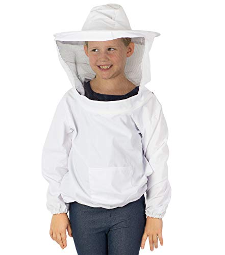 VIVO White Beekeeping Youth Sized Bee Keeping Suit, Jacket, Pull Over, Smock w/Veil (BEE-V105Y)