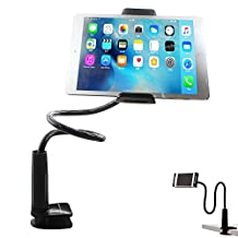 Tablet Holder Cell Phone Holder Gooseneck iPhone Holder iPad Stand Cellphone Stand Bolt Clamp with Bracket for Apple or Android Devices 4-10.6 Inches 360 Degree Rotating 32 Inches Flexible Arm [Black]