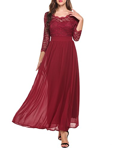 (Justrix Women's Lace Long Sleeve 3/4 Sleeve Floor Length Evening Dress  Wine Red XXL)