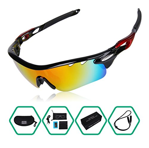 GARDOM Polarized Sports Sunglasses Lightweight Unbreakable UV-Resistant Sunglasses with 5 Interchangeable Lenses for Climbing Cycling Fishing Driving Hiking by GARDOM