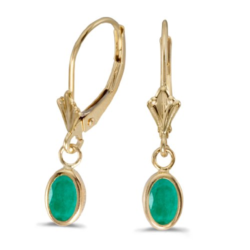 14k-Yellow-Gold-Oval-Emerald-Bezel-Lever-back-Earrings